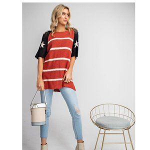 American Flag, Stars & Stripes Knit Top by Easel